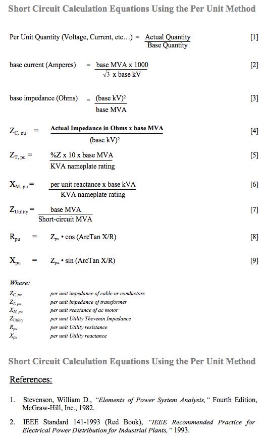 short circuit equations